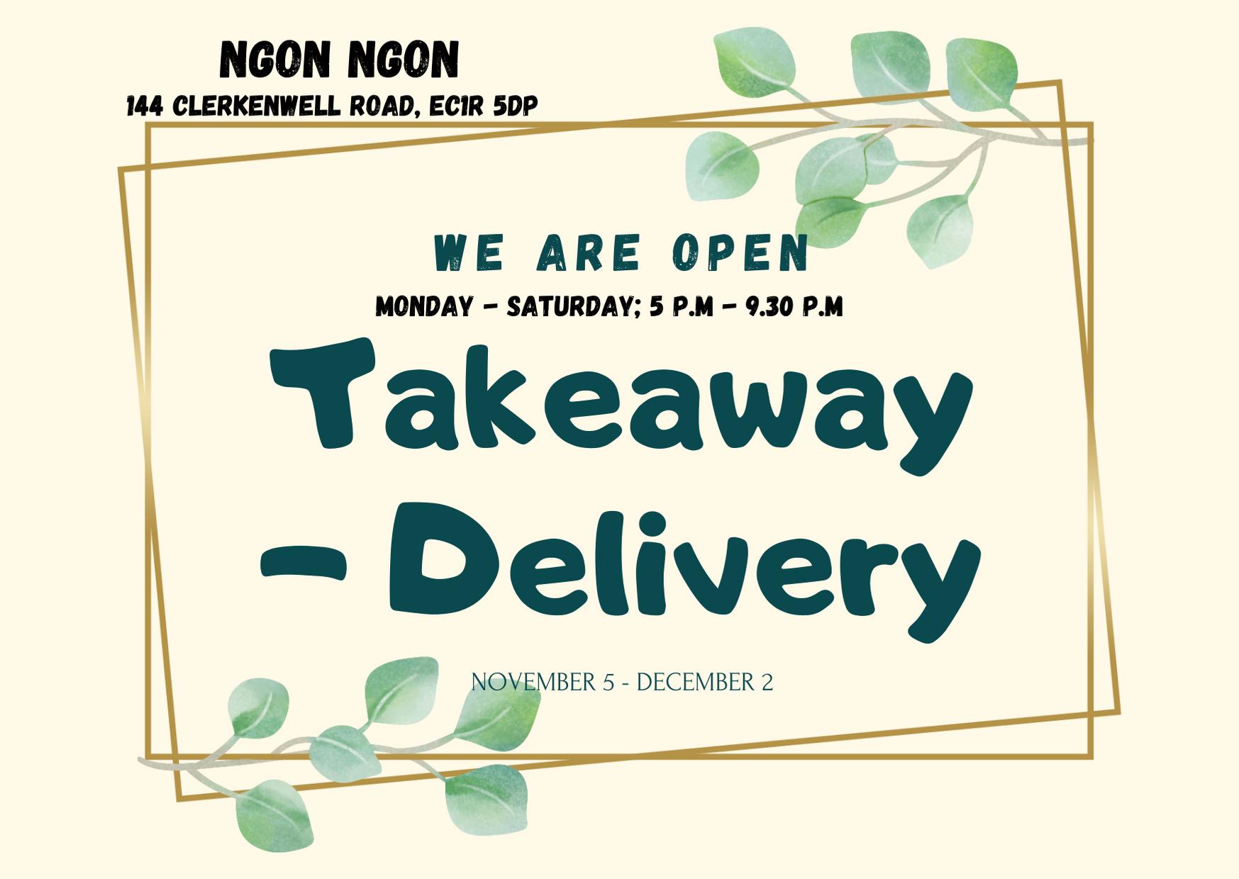 Ngon Ngon's November Opening Hours